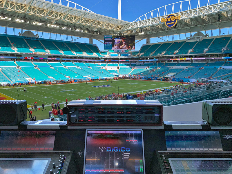 The empty Hard Rock Stadium and a SD5 desk