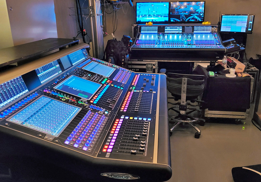 Two Quantum 7 mixing desk in a specific separate monitors room.