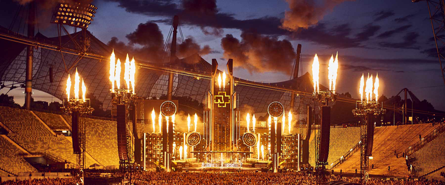 A view of the stage and the pyrotechnics of the Rammstein Stadium Tour with L-Acoustics.