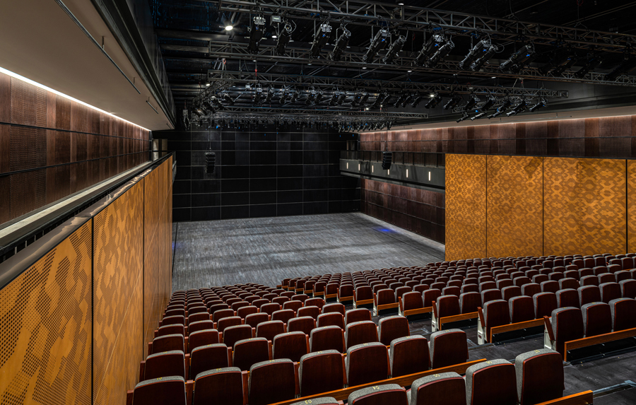 The Nine Trees 500-seat multi-functional theatre seen from the rear of the venue.